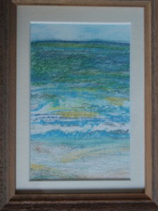 pastel drawing with mat and frame